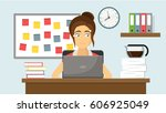 business woman with stress at...   Shutterstock .eps vector #606925049