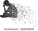 silhouette of very sad man... | Shutterstock .eps vector #606930839