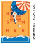 summer holiday and summer camp... | Shutterstock .eps vector #606934121