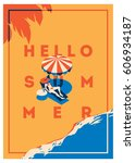 summer holiday and summer camp... | Shutterstock .eps vector #606934187