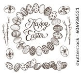 easter vintage hand drawn... | Shutterstock .eps vector #606936521