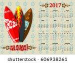 american aloha vector calendar... | Shutterstock .eps vector #606938261
