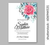 red rose wedding invitation... | Shutterstock .eps vector #606944531