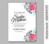 red rose wedding invitation... | Shutterstock .eps vector #606944555
