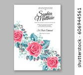 red rose wedding invitation... | Shutterstock .eps vector #606944561
