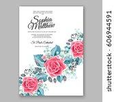 red rose wedding invitation... | Shutterstock .eps vector #606944591