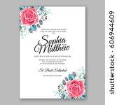 red rose wedding invitation... | Shutterstock .eps vector #606944609