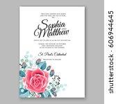 red rose wedding invitation... | Shutterstock .eps vector #606944645