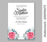 red rose wedding invitation... | Shutterstock .eps vector #606944675
