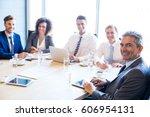 portrait of businesspeople in... | Shutterstock . vector #606954131