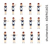 big set of housemaid characters ...   Shutterstock .eps vector #606961601