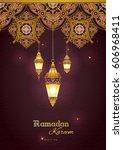 ornate vector banner  vintage... | Shutterstock .eps vector #606968411