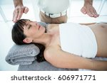pregnant woman receiving a... | Shutterstock . vector #606971771