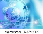 wire frame globe on blue...   Shutterstock . vector #60697417