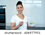 portrait of pregnant woman... | Shutterstock . vector #606977951