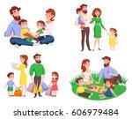 set of family during walk ... | Shutterstock .eps vector #606979484