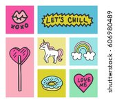 set of stickers  pins  patches... | Shutterstock .eps vector #606980489