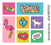 set of stickers  pins  patches... | Shutterstock .eps vector #606980501