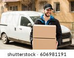delivery man with cap and... | Shutterstock . vector #606981191