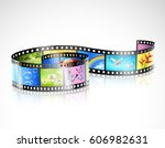 curved film strip with... | Shutterstock .eps vector #606982631