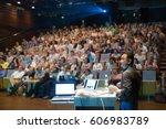 speaker giving a talk on... | Shutterstock . vector #606983789
