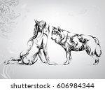 vector silhouette of a girl... | Shutterstock .eps vector #606984344
