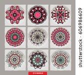 set of mandalas. vector ethnic...   Shutterstock .eps vector #606986609