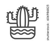 cactus thin line vector icon.... | Shutterstock .eps vector #606986825