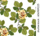 seamless floral pattern with... | Shutterstock .eps vector #606989225