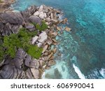 seychelles island  turquoise... | Shutterstock . vector #606990041