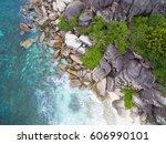 seychelles island white... | Shutterstock . vector #606990101