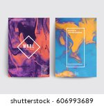 marble texture covers set.... | Shutterstock .eps vector #606993689