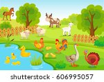 farm background with animals. | Shutterstock .eps vector #606995057