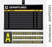 airport board vector. realistic ... | Shutterstock .eps vector #606995321