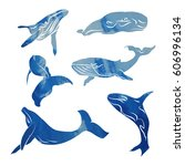 blue silhouette of a whale on... | Shutterstock .eps vector #606996134