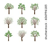 collection of spring trees.... | Shutterstock .eps vector #606996185