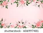 greeting card with roses ... | Shutterstock .eps vector #606997481