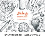 bakery top view frame.... | Shutterstock .eps vector #606999419
