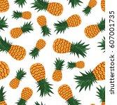 pineapple seamless pattern | Shutterstock .eps vector #607001735