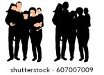 silhouette of a family and... | Shutterstock .eps vector #607007009