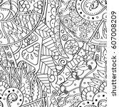tracery seamless calming... | Shutterstock .eps vector #607008209