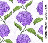 seamless vintage floral pattern ... | Shutterstock .eps vector #607010525