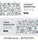 doodle vector illustrations of... | Shutterstock .eps vector #607012451