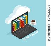 online library isometric design ... | Shutterstock .eps vector #607023179