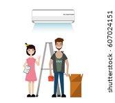 technician installing... | Shutterstock .eps vector #607024151