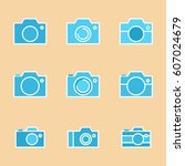 set of photo camera icon or... | Shutterstock .eps vector #607024679