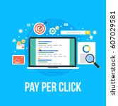 pay per click management vector ... | Shutterstock .eps vector #607029581