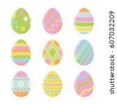 easter eggs for easter holidays ... | Shutterstock .eps vector #607032209