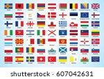 flags of europe  | Shutterstock .eps vector #607042631