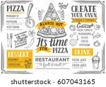 pizza food menu for restaurant... | Shutterstock .eps vector #607043165